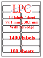 PDL-14s ( 14 labels per sheet )(Now no VAT)